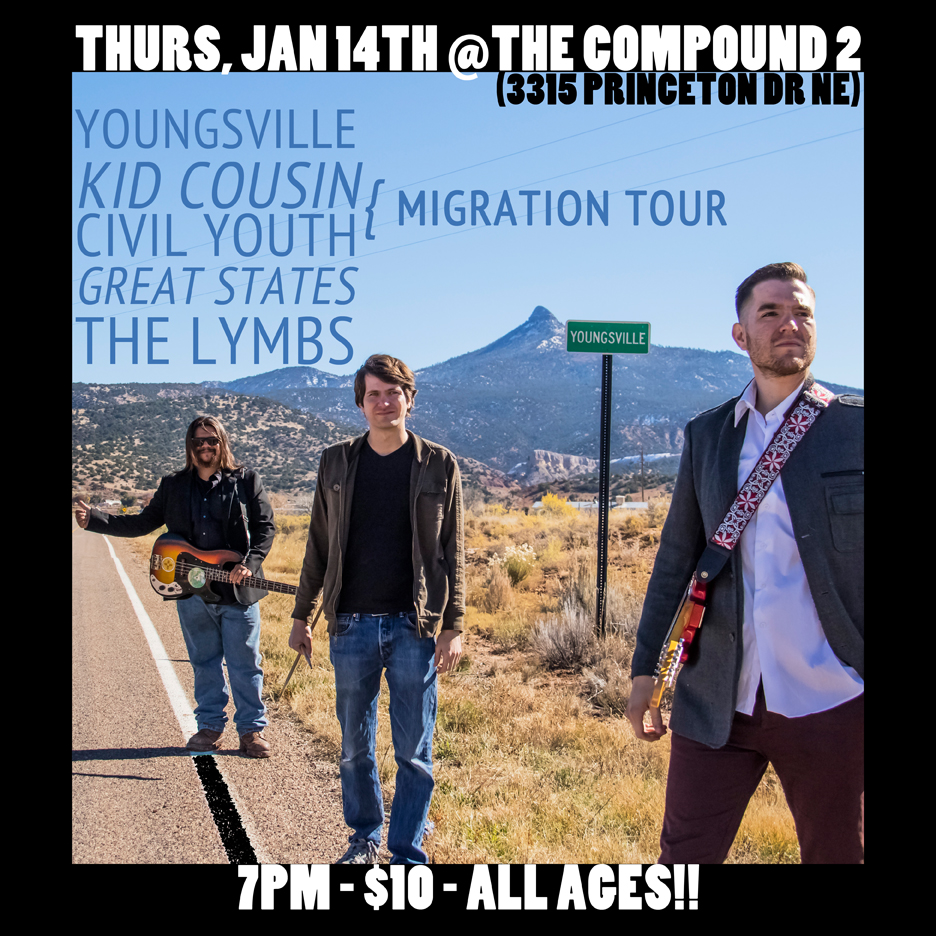 "Youngsville play their blend of indie and rock n roll for the all ages event at Blu Phoenix ""The Compound 2"" in Albuquerque, NM."